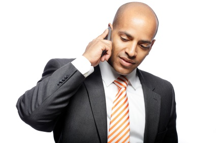 Sales Professional on Cell Phone